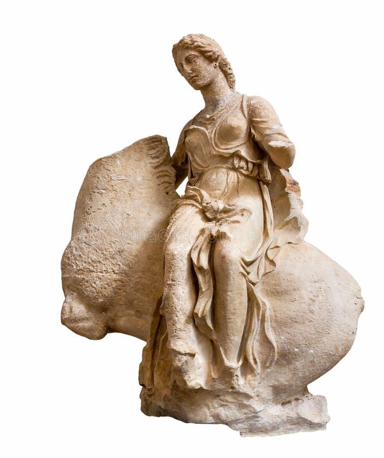 Estátua do grego clássico de um Nereid em horseback fotografia de stock royalty free