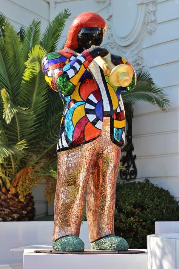 Estátua do mosaico da trompetista imagens de stock royalty free