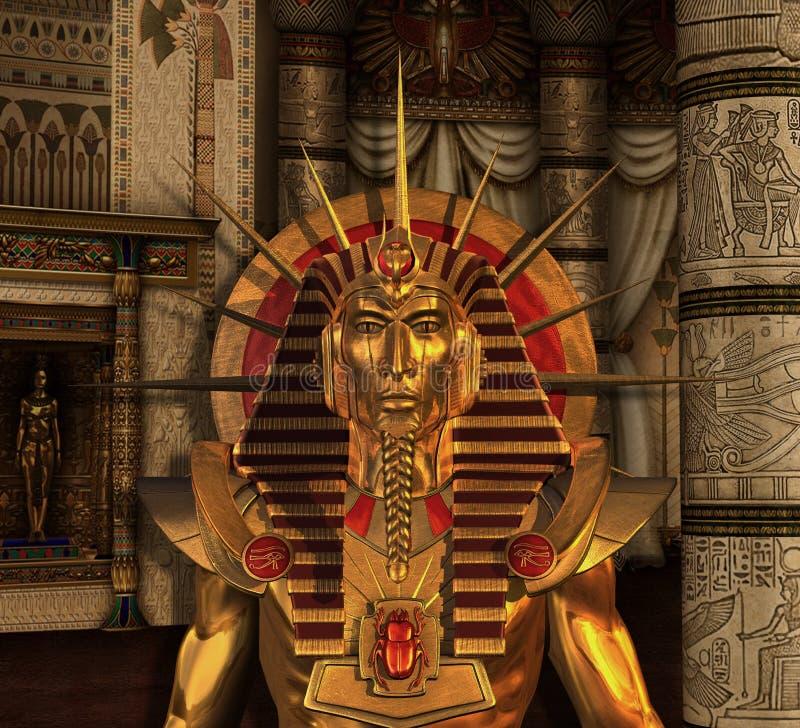 Estátua do Pharaoh na câmara de enterro ilustração royalty free
