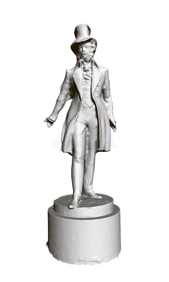 Estátua do poeta Pushkin do russo 3d Ilustração do vetor ilustração royalty free