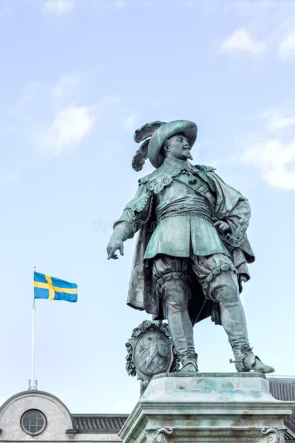 Estátua do rei sueco anterior Gustav II Adolf fotos de stock
