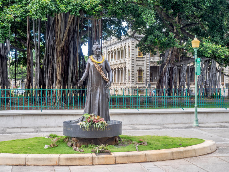 Estátua do uokalani do ` da rainha Lili fotografia de stock