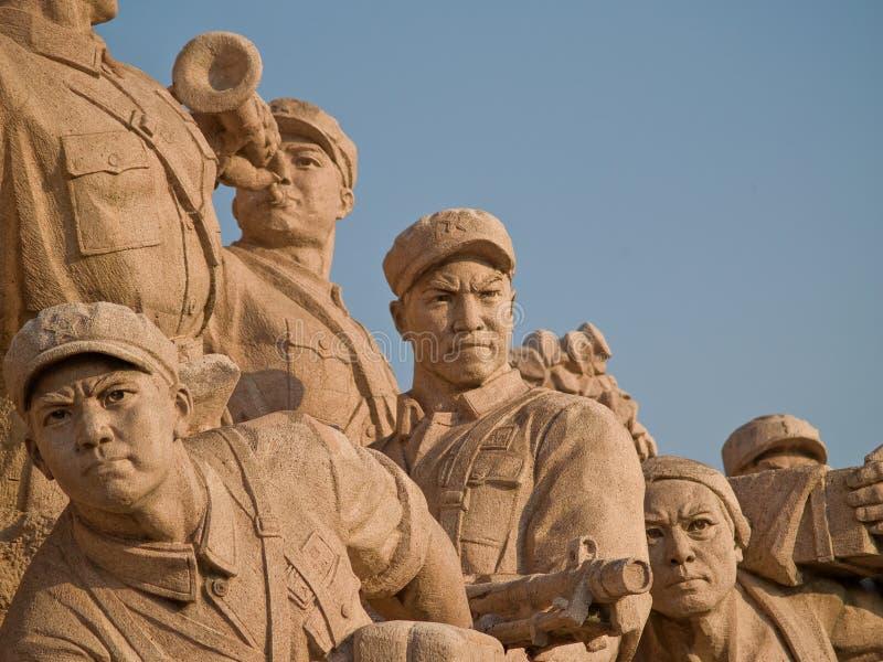 Estátua dos trabalhadores na Praça de Tiananmen fotografia de stock