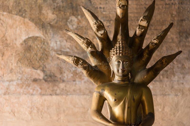 Estátua dourada de buddha na igreja no templo de Rongngae em Nan Provinc foto de stock