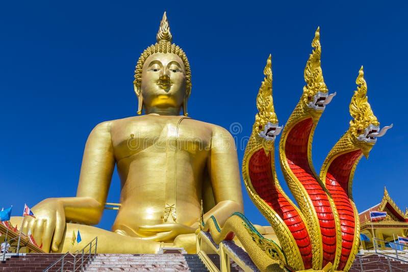 Estátua dourada grande de buddha e estátua do rei da serpente no templo budista imagens de stock royalty free