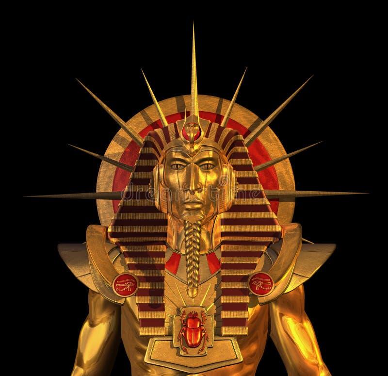 Estátua egípcia antiga do Pharaoh no preto ilustração royalty free
