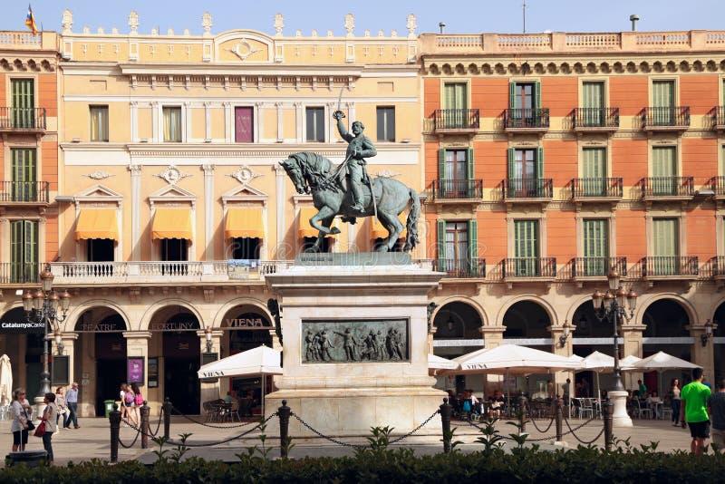 Estátua equestre do general Joan Prim, Reus, Espanha fotos de stock royalty free