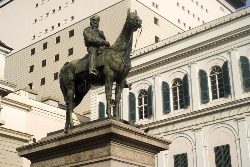 Estátua equestre em Genoa imagem de stock royalty free