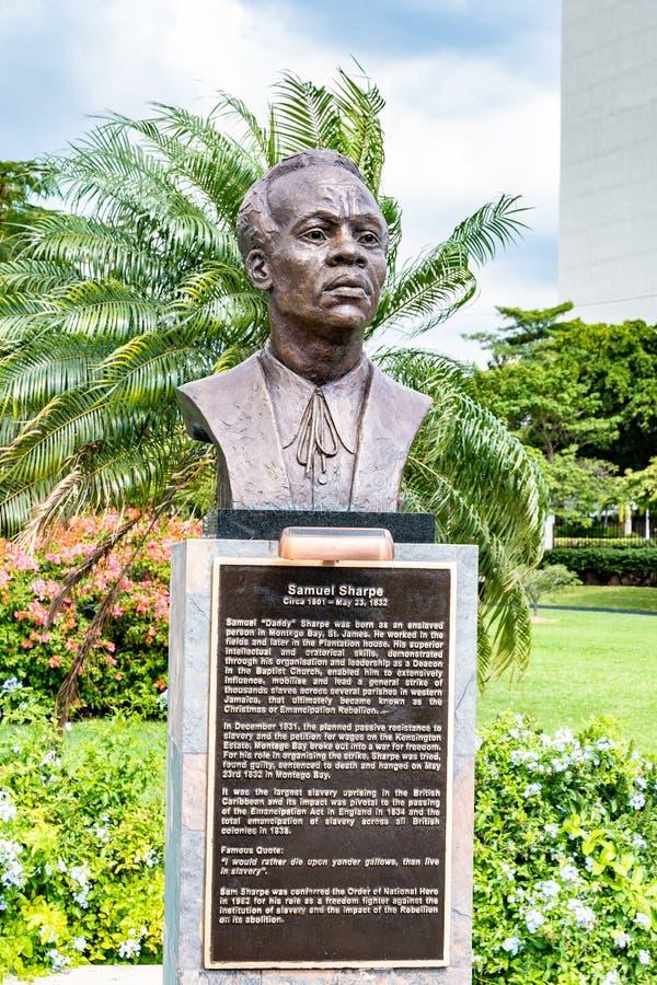 Estátua/escultura do herói nacional jamaicano Samuel Sharpe/Sam Sharpe imagens de stock