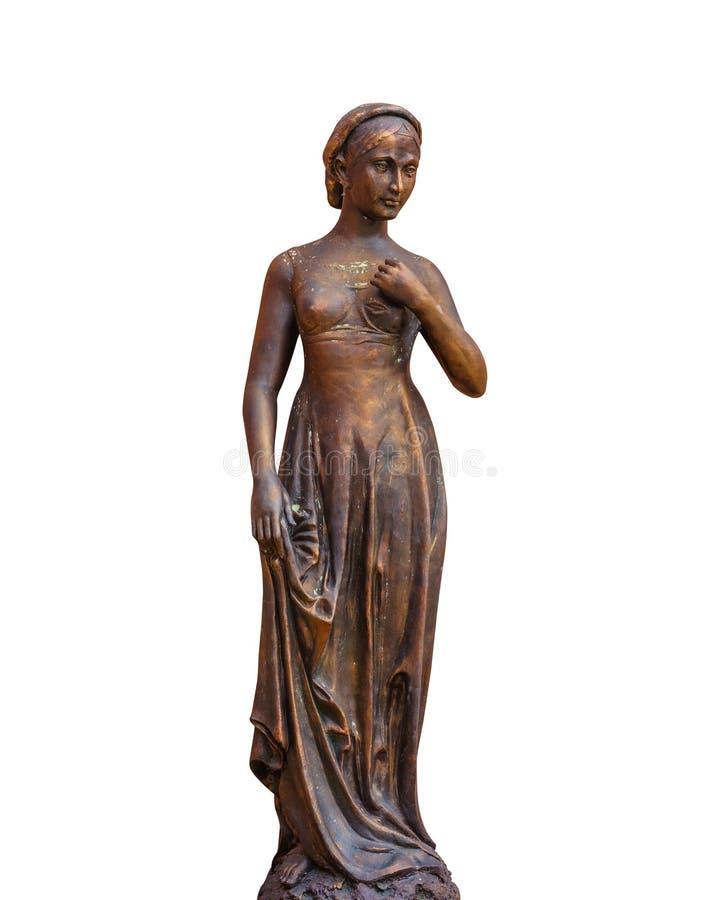 Estátua fêmea isolada no branco fotografia de stock