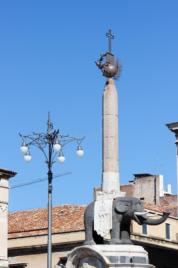 Estátua famosa do elefante em Piazza Duomo em Catania, Sicília, Itália O símbolo da cidade siciliano, chamado igualmente Liotru fotografia de stock royalty free