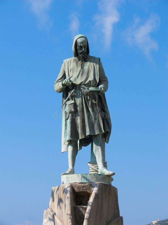 Estátua Flavio Gioia de Amalfi fotografia de stock