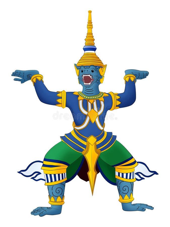 Estátua gigante tailandesa do prakeaw de Tailândia, estilo pintado do wat ilustração royalty free