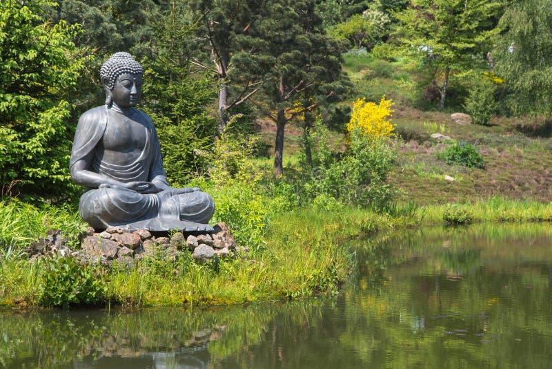 Estátua grande de buddha ao lado da lagoa do jardim imagem de stock