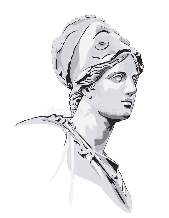 Estátua grega antiga ilustração do vetor
