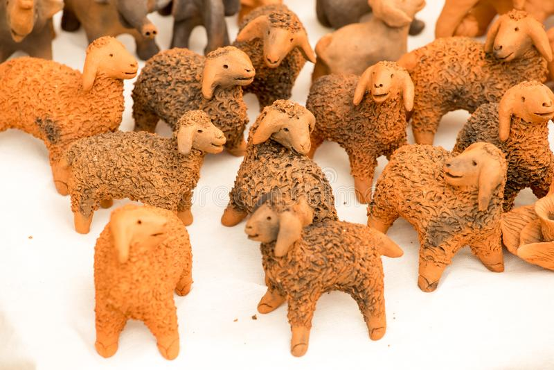 Estátua macia da argila do cão da cabra do elefante do foco imagem de stock royalty free