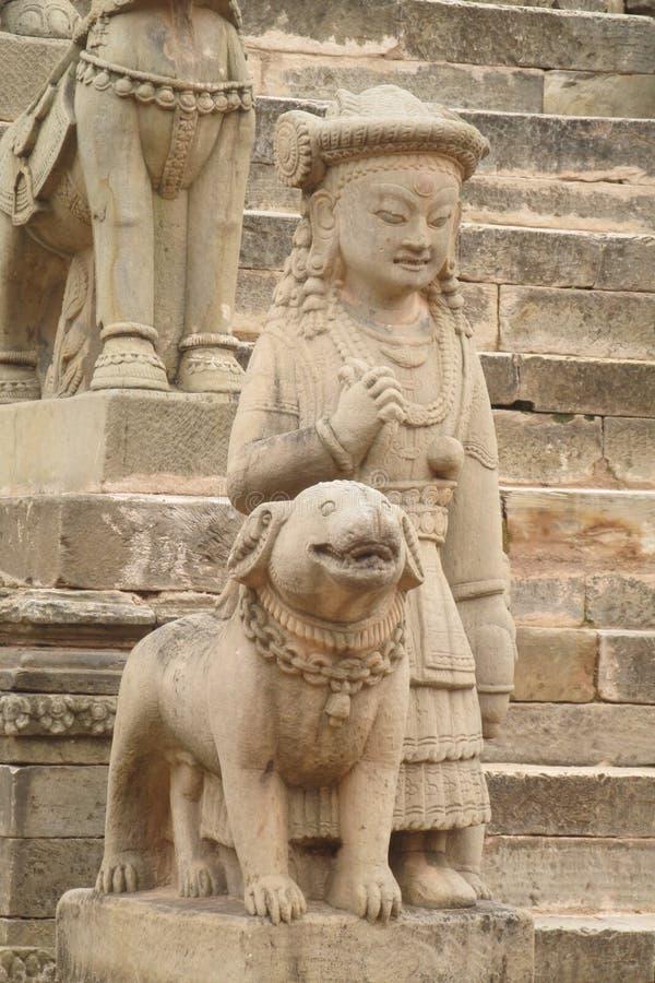 Estátua mitológica asiática de Qilin em Bhaktapur, Nepal imagem de stock