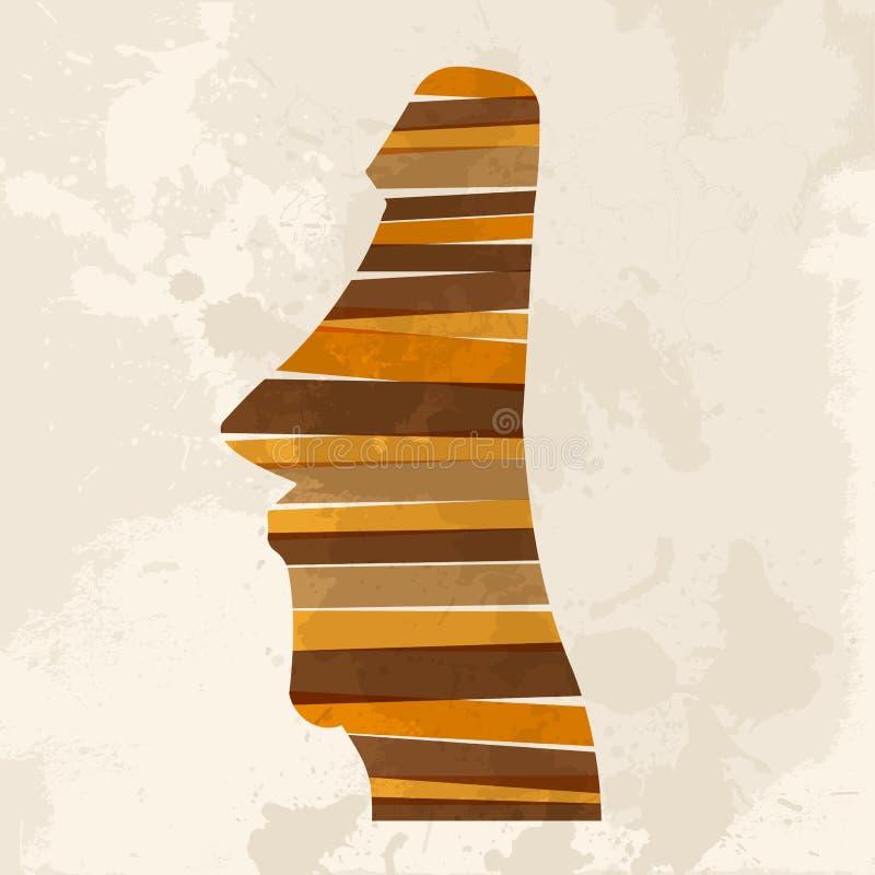 Estátua multicolorido do moai do vintage ilustração do vetor