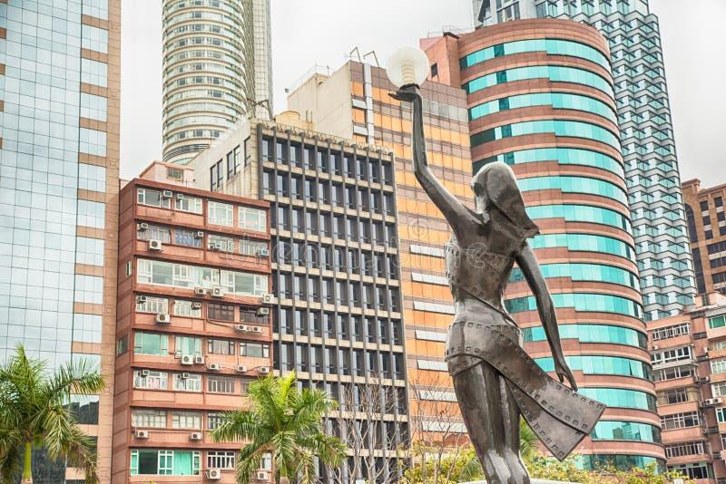 A estátua na avenida de protagoniza em Hong Kong foto de stock