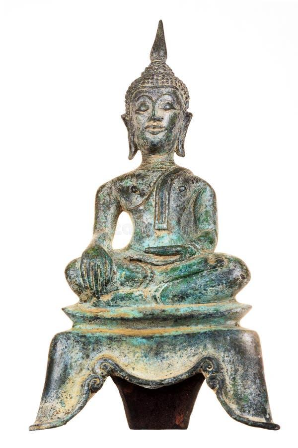 Estátua oxidada de Buddha do verde do vintage imagens de stock