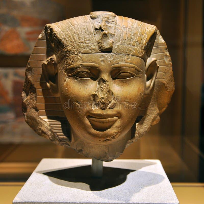 Estátua principal do faraó de Egipto antigo foto de stock royalty free