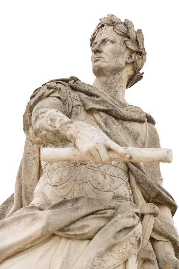Estátua romana de Julius Caesar do imperador isolada sobre o fundo branco foto de stock royalty free