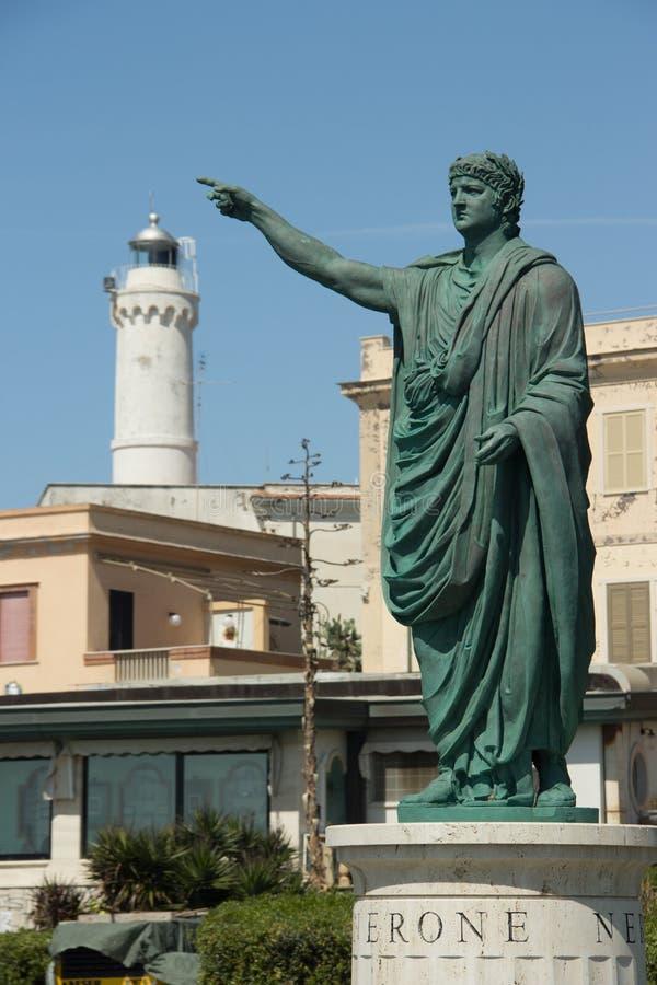 Estátua romana de Nero do imperador em Anzio, Itália fotografia de stock royalty free