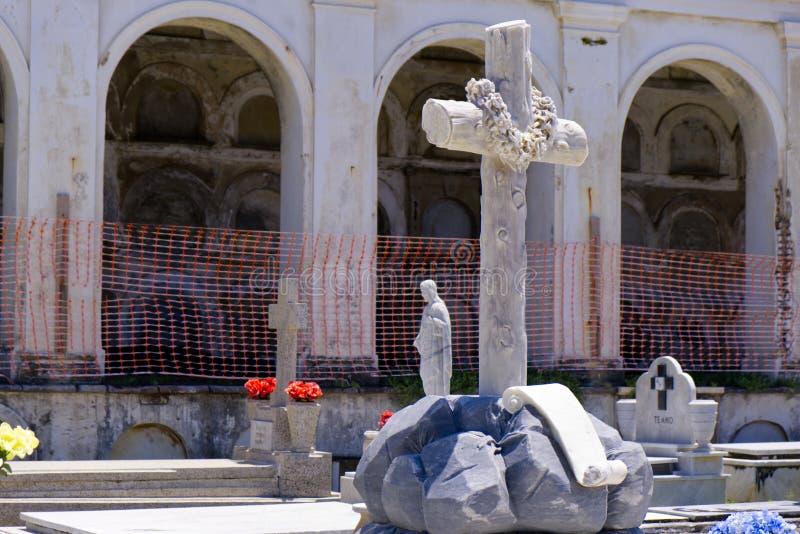 Estátua transversal com construção imagem de stock royalty free