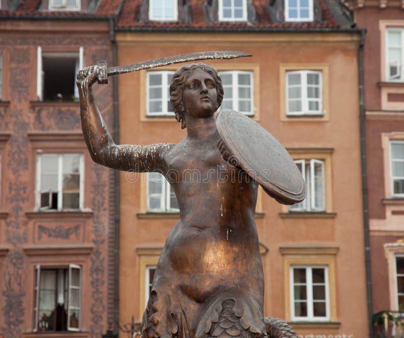 Estátua Varsóvia da sereia imagens de stock royalty free