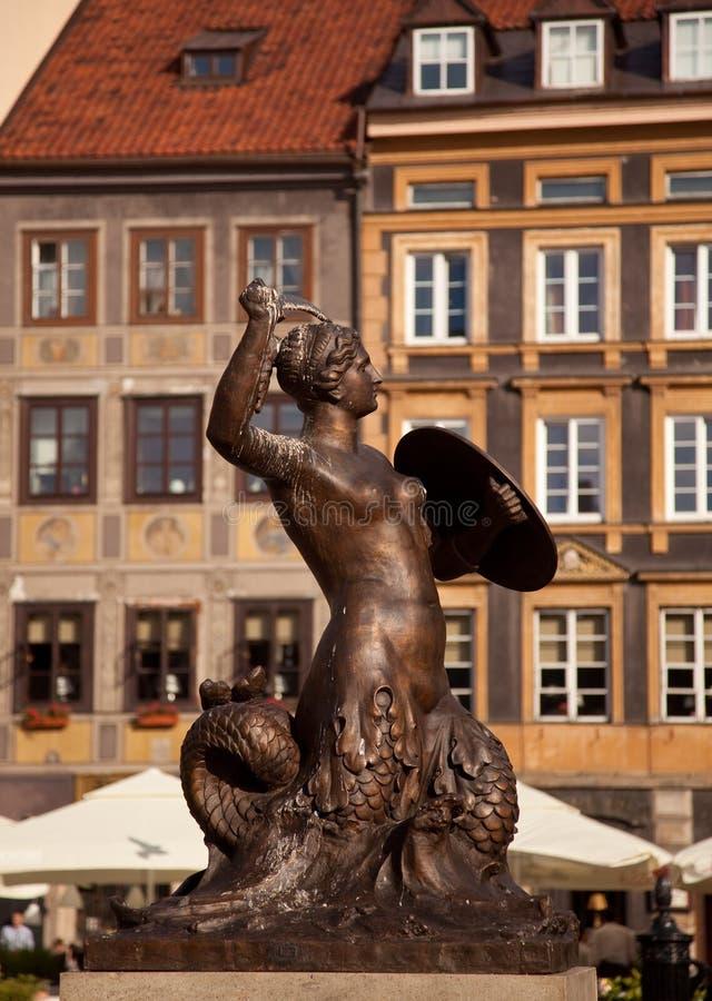 Estátua Varsóvia da sereia fotos de stock royalty free