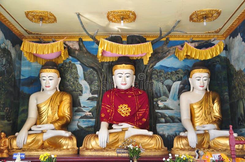 Estátuas da Buda do pagode de Daw do papo de Shwe, Yangon, Myanmar imagem de stock