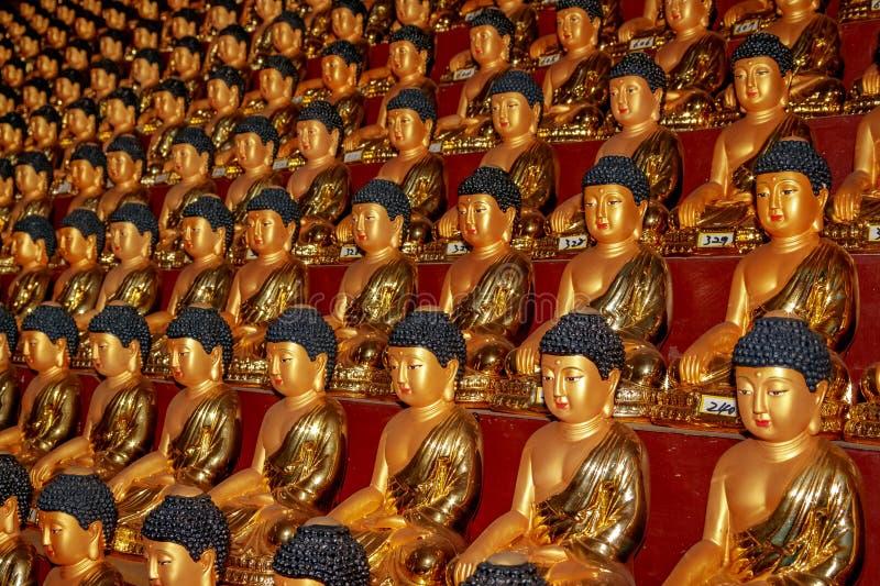 Estátuas da Buda em Hua Yan ou no templo de Huayan província em Tumen, Jilin, prefeitura de Coreia Yanbian Uma maneira interessan imagens de stock
