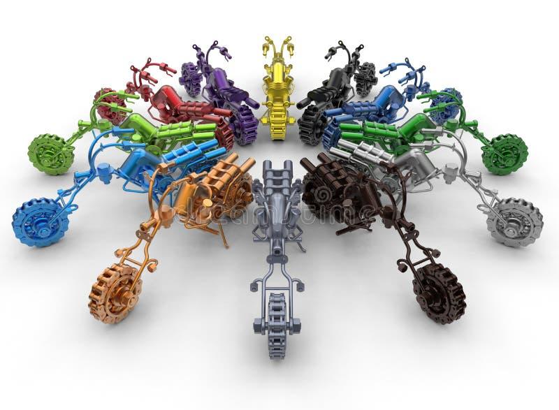 Estátuas da motocicleta da diversidade da cor ilustração do vetor