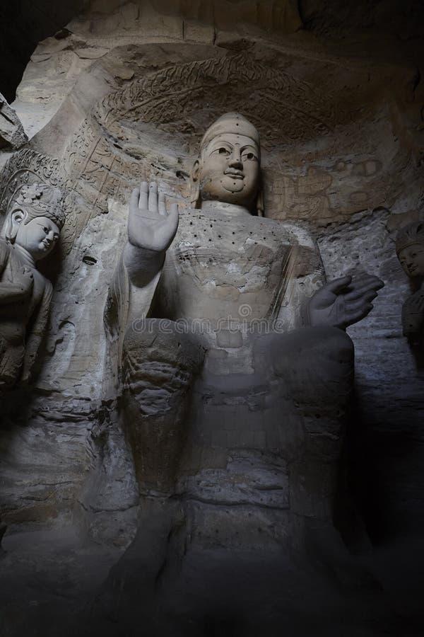 estátuas de buddha em cavernas de Yungang imagens de stock royalty free