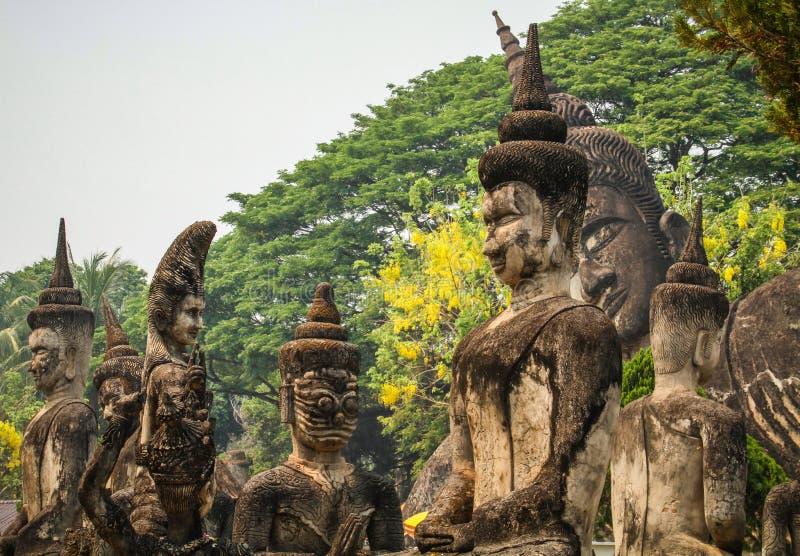 Estátuas de pedra da Buda, parque da Buda, Vientiane, Laos fotografia de stock royalty free
