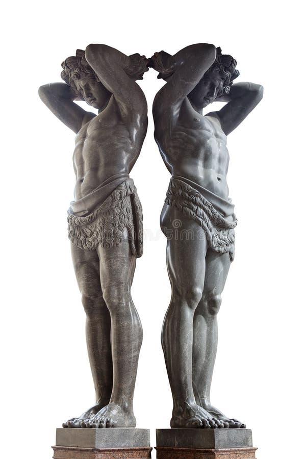 Estátuas do eremitério novo de Atlantes, St Petersburg, Rússia fotografia de stock royalty free