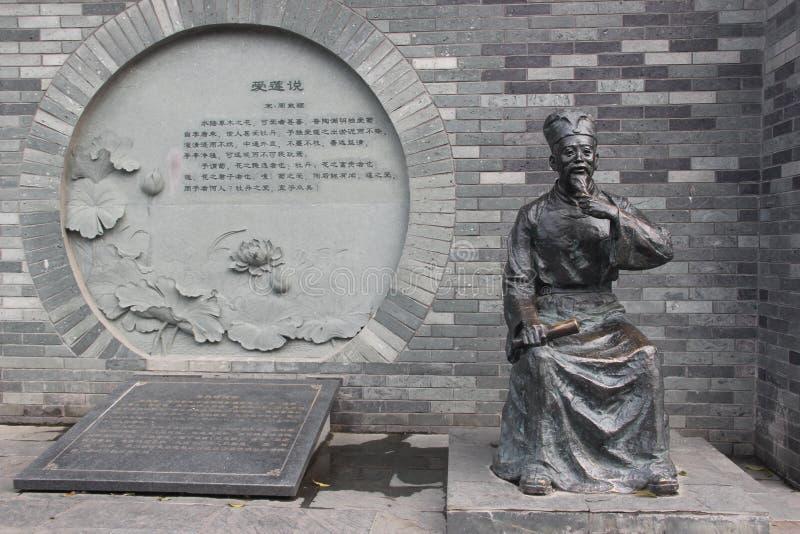 Estátuas históricas do bronze do dunyi de Zhou das celebridades imagens de stock royalty free