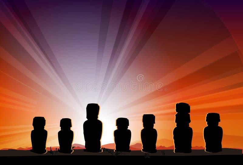 Estátuas Moai do monumento da Ilha de Páscoa nos feixes de Sun ilustração royalty free