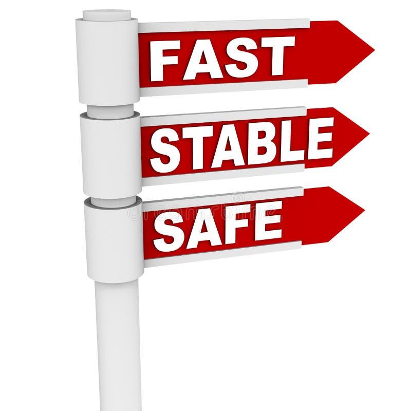 Estável e seguro rápidos ilustração do vetor
