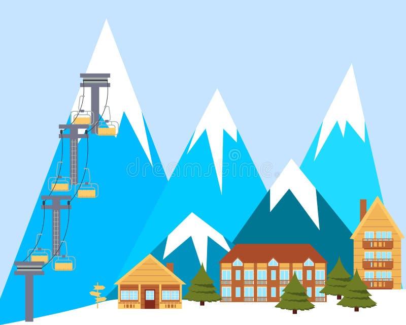 Estância de esqui ilustração royalty free