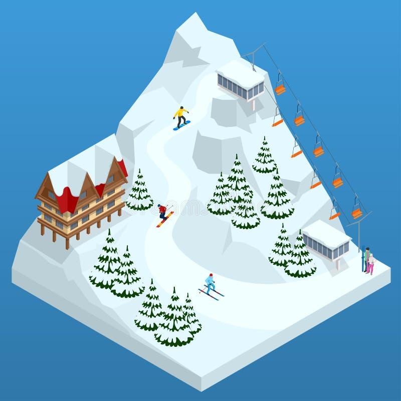 Estância de esqui, inclinação, povos no elevador de esqui, esquiadores na pista entre os pinheiros brancos da neve e hotel Web do ilustração stock