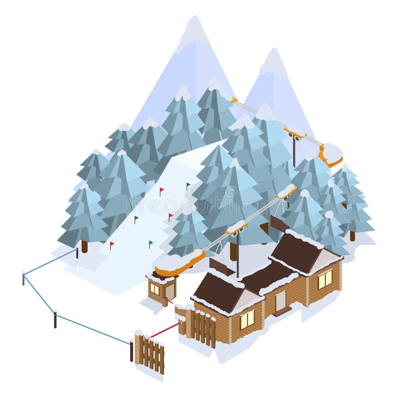 Estância de esqui Paisagens da montanha Ilustrações isométricas do vetor ilustração do vetor