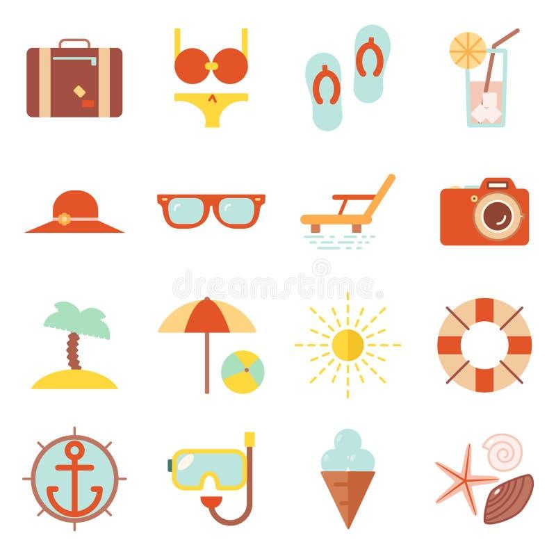 A estância de verão da cor das férias de verão accessorize a ilustração lisa do molde do projeto do ícone dos símbolos do vetor ilustração stock