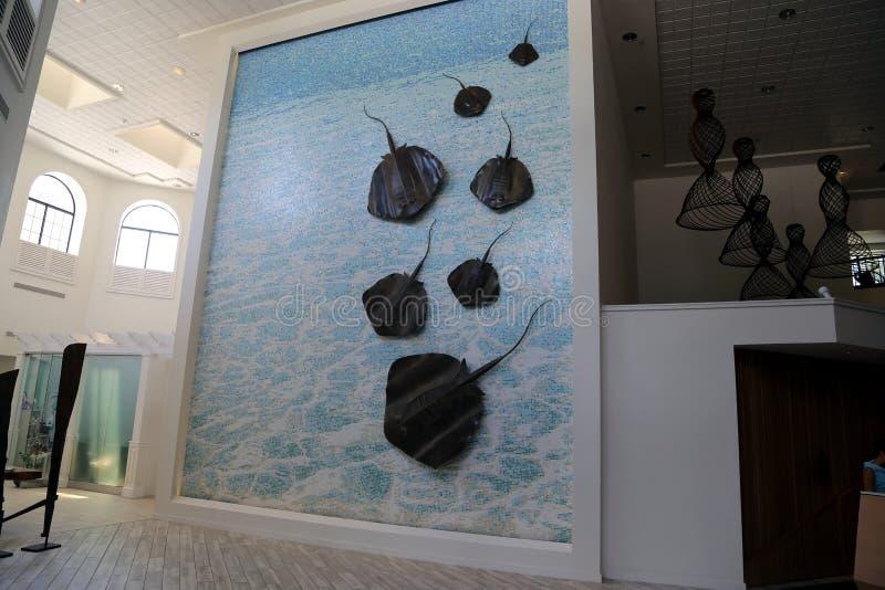 Estância de verão de Marriott do caimão de Grande Caimão Island_Grand em sete Miles Beach em Georgetown imagem de stock royalty free