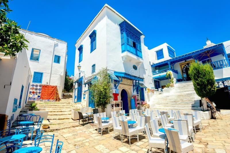 Estância turística Sidi Bou Said Tunísia, Norte de África fotos de stock