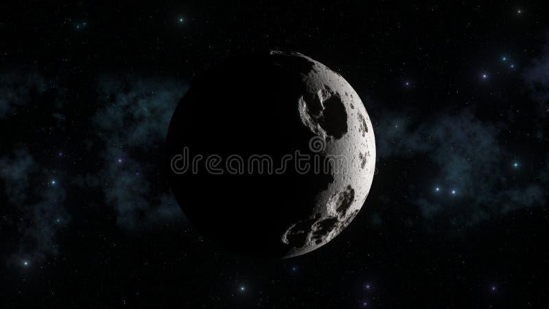 Esté en la luna con la galaxia en fondo y sombras agudas de la luz del sol Cráteres lunares y topetones ilustración del vector