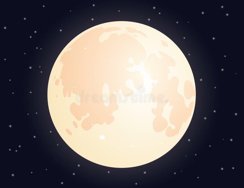 Esté en la luna en el fondo estrellado del cielo para su diseño stock de ilustración