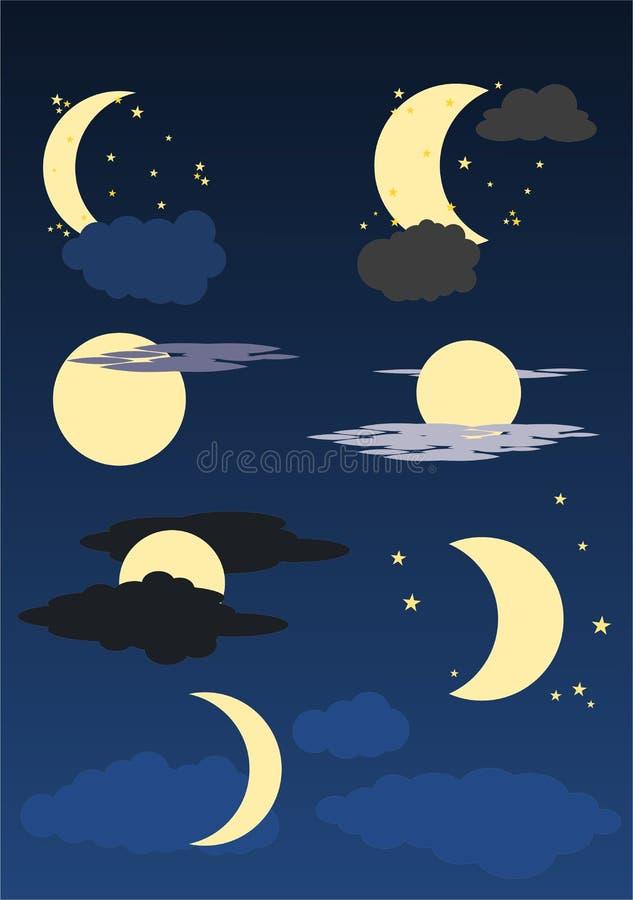 Esté en la luna, las estrellas y las nubes en el cielo azul stock de ilustración