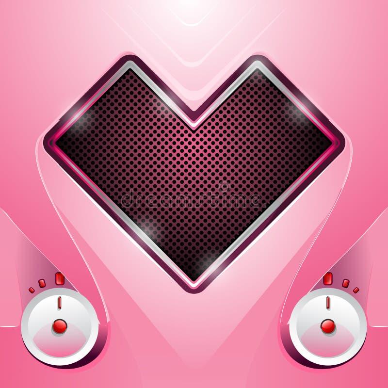 Estéreo em uma forma do coração ilustração do vetor