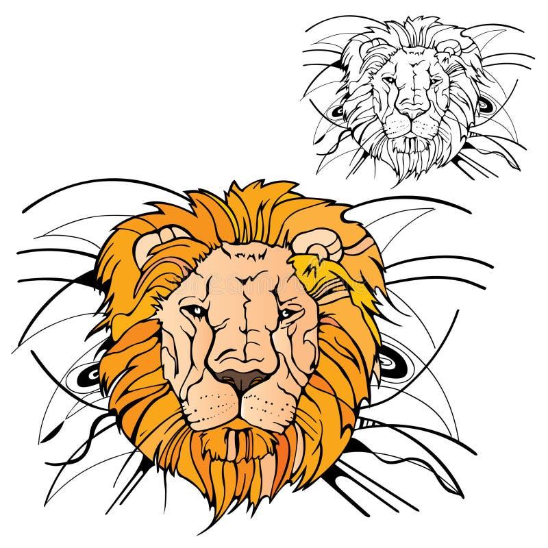 Estêncil da cor da silhueta do rei do leão ilustração royalty free